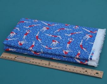 1/2 Yard Novelty Cotton Fabric Swimmers and Divers