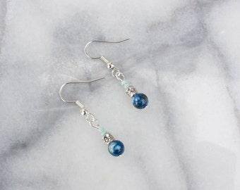 Small Drop Earrings, Turquoise and Deep Blue Bead, Silver, Minimalist Earrings, FREE SHIPPING