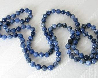 Long Handknotted Sodalite Necklace