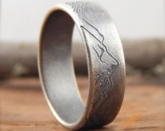 Mountain ring wedding band  * 7 mm wide * engraved sterling silver, simple wedding band, 1.5 mm thick.