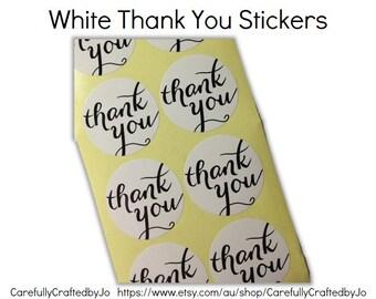 Set 60,120,180 - White Thank You Script Font Stickers - 3.8cm Round White Sticker/ Envelope Seals - Wedding
