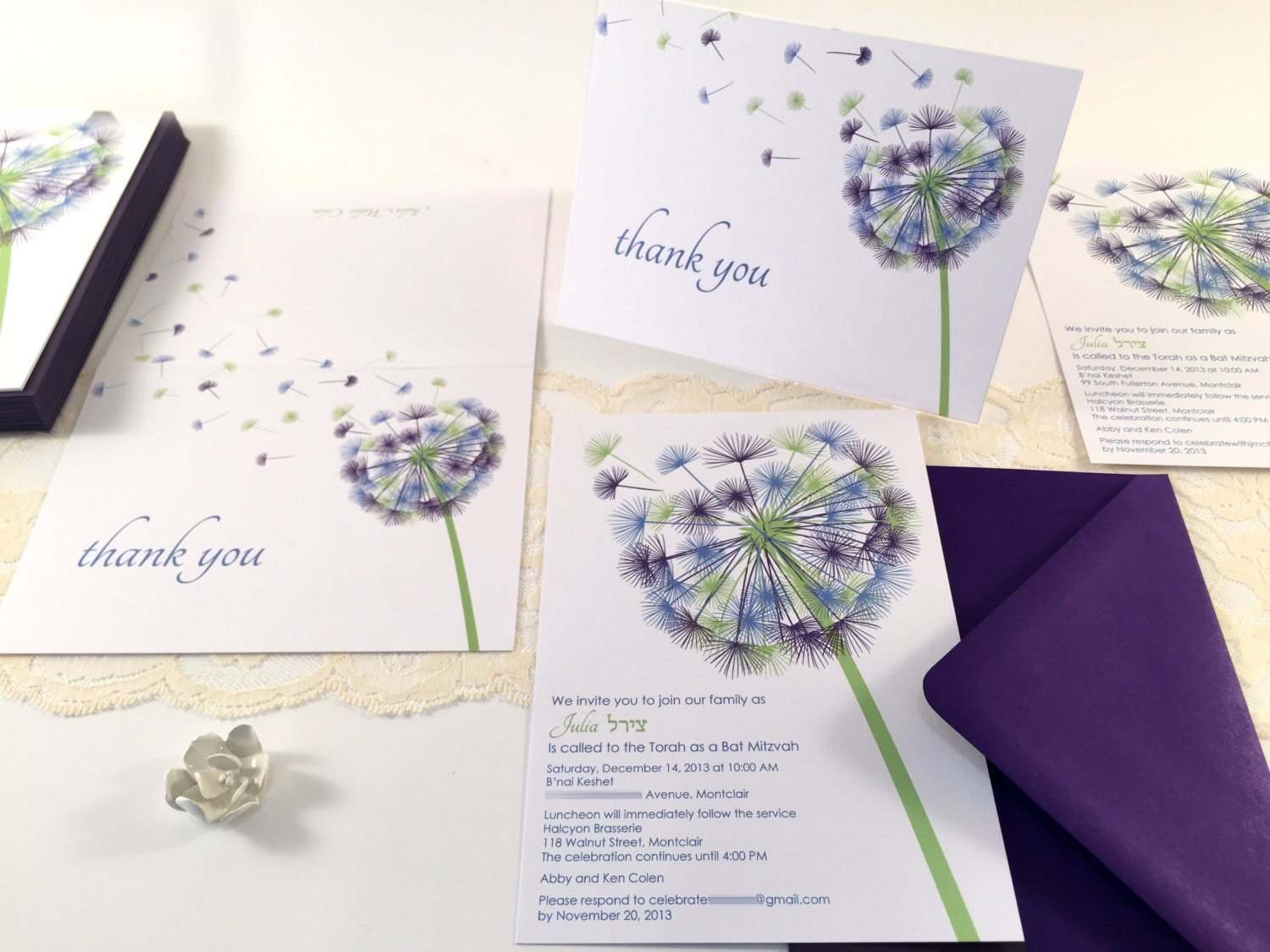 Dandelion Bat Mitzvah Invitation Sample Blue Purple