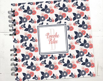 Baby Book |  Baby Memory Album | Navy Coral Floral Personalized Wire Bound Baby Memory Book Keepsake Album