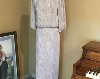 Vintage Fortuny Pleated Two Piece Evening Gown