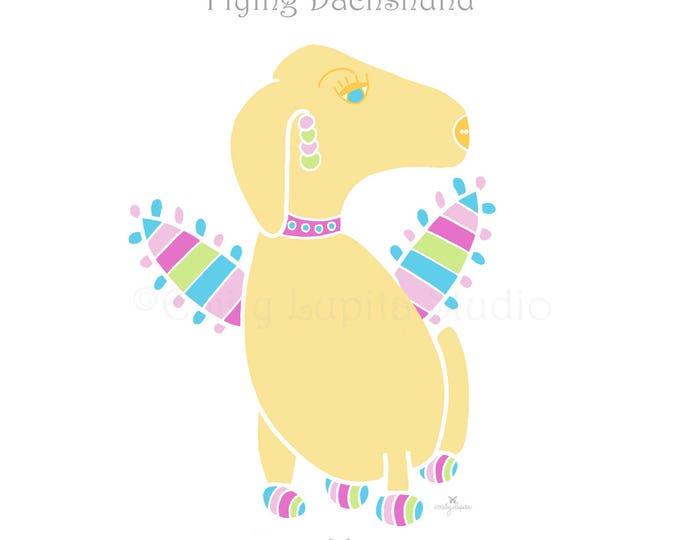 "Illustration Art Print ""Flying Dachshund"" / Dog Puppy Pet Portrait / Doxie Wall Art / Nursery Baby Shower Gift / Pet Memorial Loss"
