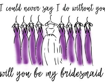 Will you be my Bridesmaid \\Purple\\Bridesmaid Proposal\\Digital File