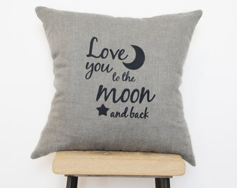 Embroidered Grey cushion, pillows Love you to the moon and back. Romantic gift for wife, husband or girlfriend.