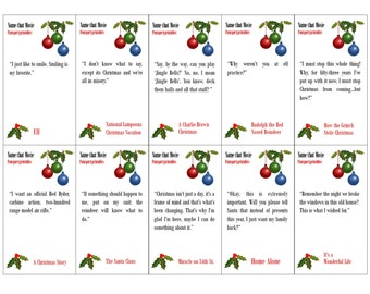Name that Christmas Movie - Christmas Movie Quote Game - Printable Game - Christmas Family Game -  Classroom Party Game  -  Instant Download