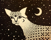 Original Painting Sacred Cat, Acrylic on Canvas Ornamental Wall Art