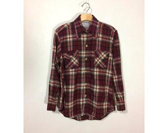 M | Philip Scott mens 70s vintage wool flannel plaid shirt / vintage plaid flannel shirt / 80s red plaid shirt / 70s wool flannel shirt