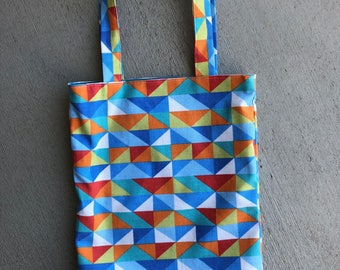Child's Tote / Book Bag, Geometric Tote, Spring Purse, summer purse, carry, treasures, library, primary colors, bag, birthday, gift