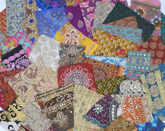 50 Boho Bohemian Indian Textiles Fabric Swatches Samples (Lucky Dip)