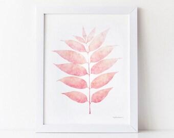 Pink print, Pink art for Girls room decor, Pink wall decor, Bedroom print, Pink Nursery decor, Leaves PRINTABLE art, Pink decor, Girls print