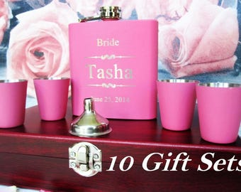 Ten, Bridesmaid Gift, Flask Gift Set, Maid of Honor Gift