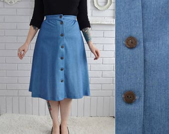 Vintage 1970s Faux-Denim A-Line Skirt with Buttons by Kemington Express Size XS