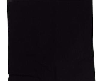 "Black Solid Bandana -  22"" x 22"" 100% Cotton"