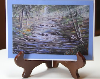 Forest Stream With Rays of Light Shining-  Cards
