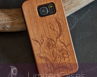 """Case for Samsung Galaxy S6 Edge with cherry Wood edition, laser engraving """"Flowers"""""""