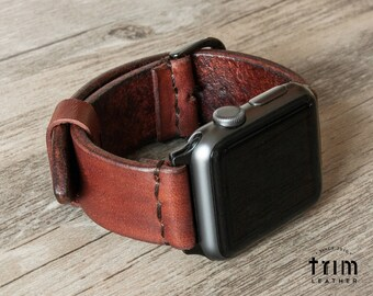Apple Watch Band 42mm 38mm Leather Watch Band iWatch Strap Bracelet Series 1 2 3 Minimal Hazel Nut Hazelnut Brown [Handmade] [Custom Colors]