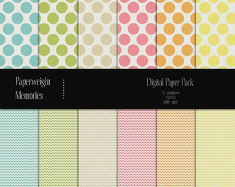 Dots & Chevron I - Digital Papers - Instant download - digital scrapbooking - patterned and textured paper -  Commercial use