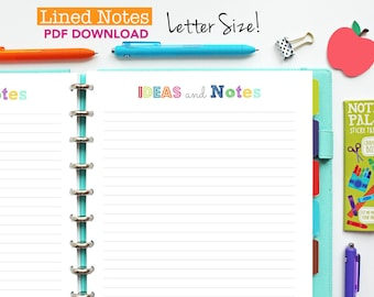 Notes Page, Printable Inserts, Planner Pages, lined notes page, planner binder, letter size, happy planner, discbound