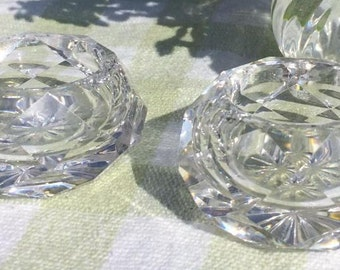 pair of cut glass salt and pepper holders