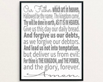 The Lord's Prayer, The Lords Prayer, Lords Prayer Art, Lords Prayer Print, Printable Art, Scripture Art, Scripture Typographic Print, KJV