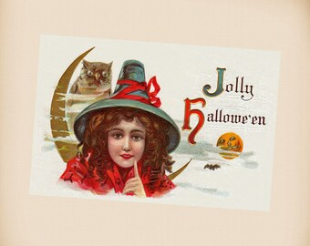 Young Halloween Witch New 4x6 Vintage Postcard Image Photo Print HA02