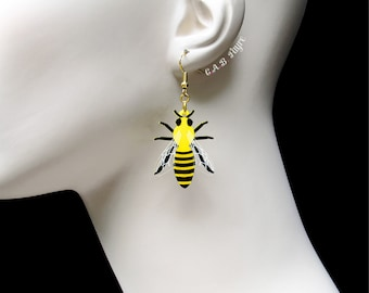Bee Earrings - The Bee's Knees Collection - Honeycomb Earrings - Laser Cut Earrings (C.A.B. Fayre Original Design)