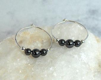Hematite Bead Hoop Earrings, Sterling Silver Beads, Sterling Silver Hoops - 18mm Hoop (approx 3/4 inch)