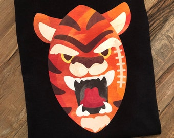 Personalized Watercolor Tiger Football onesie, shirt, romper or bubble! Free personalization!