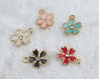 Enamel Charms, Sakura Charms, Set of 10, White sakura Charm ,Black sakura Charms, Pink sakura Charms, Red Charms, Flower Charms,Findings