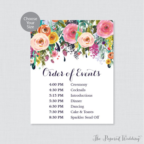 Order Of Reception Events At Wedding: Printable Order Of Events Sign Floral Wedding Order Of