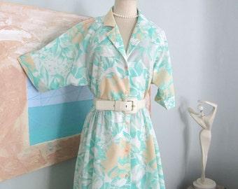 Summer Dress, Floral Dress, Plus Size Dress, Women's  Dresses, Green Dress, Mint Green Dress, Ladies Dresses, Casual Dress, Secretary Dress