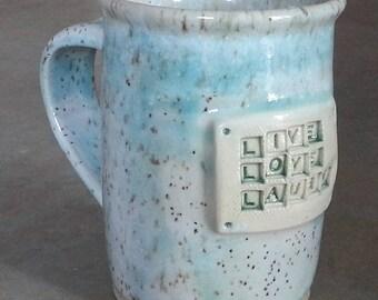 Pottery Mug, Handmade Large Pottery Mug, Handthrown White/Green Mug, 18 oz Mug, Stoneware Mug, Handmade Mug, Wheel Thrown Mug, Coffee Mug