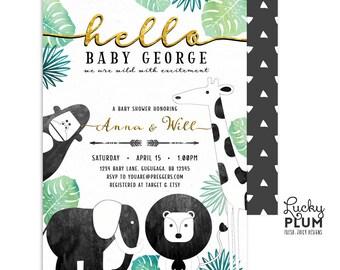 Jungle Animals Baby Shower Invite / Green Black Gold Safari Baby Shower Invitation / Wild One Couples Coed Invitation / Tribal Boho SF04