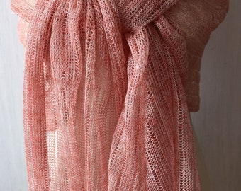 Natural Linen Shawl Salmon Pink Knitted Natural Scarf Wrap Women Spring Summer Accessory