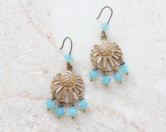 Oriental Mint Earrings Crystals and Metal