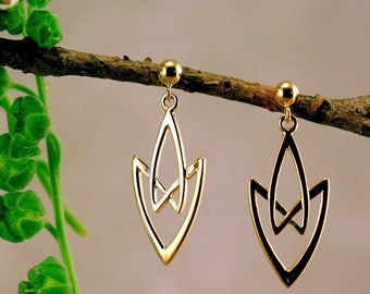 Celtic earring, gold celtic earring,  celtic jewelry, symbolic women jewelry, handmade jewelry, celtic wedding, viking jewelry, antique