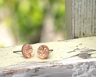 Peach Glitter Studs Faux Druzy Stainless Steel Post Earrings, 8mm Faux Drusy