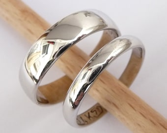 Wedding rings set white gold wedding band set men and women