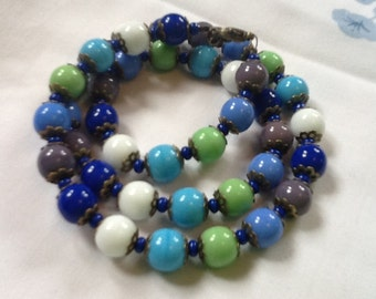 HARLEQUIN 'WINTER' NECKLACE czech glass beaded necklace blue green white purple opaque beads