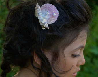 Seashell hair clip, mermaid hair clip, seashell hair accessories, under the sea hair clip, Pearl hair clip, seashell Barret