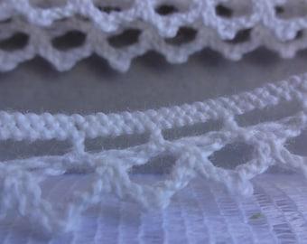"""Ivory Lace Trim, Craft Lace Trim, Crochet Lace Trim, Embellishment Trim, Flat Lace Trim, Vintage Lace, 1/2"""" (1 cm) Wide Trim, 10 Yards"""