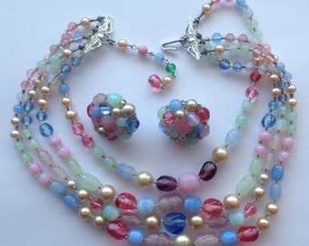 Sale Vintage Pastel Demi Parure 4 Strand Glass Bead Faux Pearl Necklace Earrings Japan