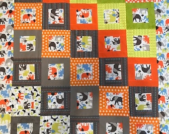 Elephant Walk Unfinished Baby Boy Quilt Top