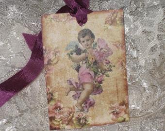Vintage Cherub Children Angel Gift Tag ECS