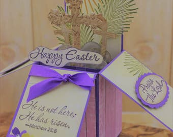 Easter Pop Up Card, Card in a Box, Religious Card, Happy Easter Card, Cross Card in a box, 3D Easter Card, Unique Box Card, Stampin Up Cards
