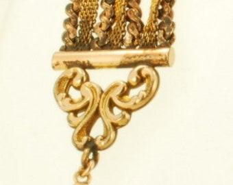 "5"" vintage yellow gold filled (YGF) multi-strand ribbon-style pocket watch chain, YGF multi-strand tassel fob"