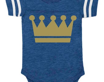 new* in Royals colors, Kansas City, KC, baseball, baby bodysuit vintage royal, gold crown, baby baseball, 6 and 12 months, royals baby